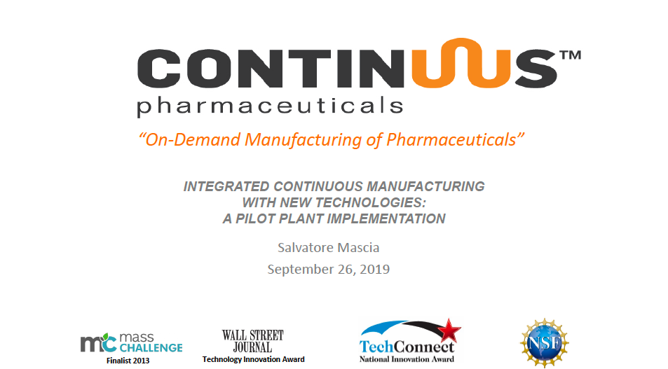 Download slides: Integrated continuous manufacturing with new technologies: pilot plant implementation
